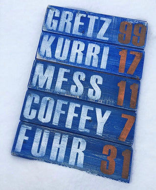 RGC-05 Oilers Legends Numbers  Gretz 99  Kurri 17  Mess 11  Coffeey 7  Furh 31
