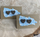 NRA-09 Wooden Heart Earrings -Natural & Stained