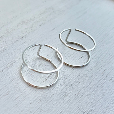 HHS-111 Double Circle Ear Jackets -Sterling Silver