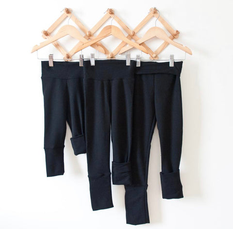 TPP-03 Black SOLID Grow Along Pants 3m-12m