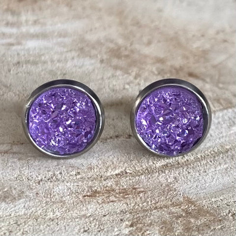 RSH-05 8mm Purple Druzy Earrings Choose from the drop down list (Stainless Steel)