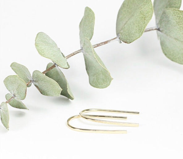 TMD-14 Gold Filled mini Hammered Ribbon Earrings