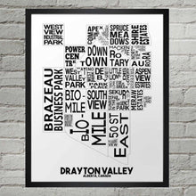 Load image into Gallery viewer, NHM-28 Drayton Valley Neighbourhood Map Print 11x14 B&W