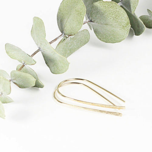 TMD-11 Gold Filled Hammered Ribbon Earrings