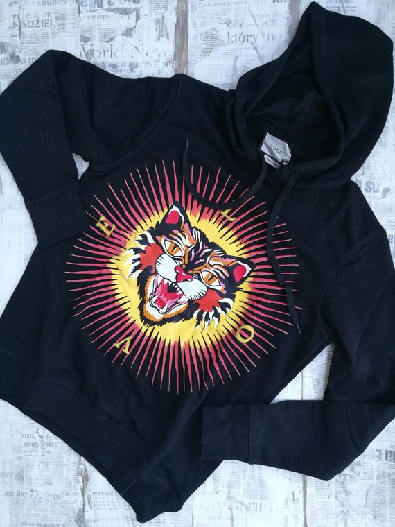 1ac28733519 Gucci Men s Cotton Sweatshirt With Angry Cat Appliqu  Hoodie size ...