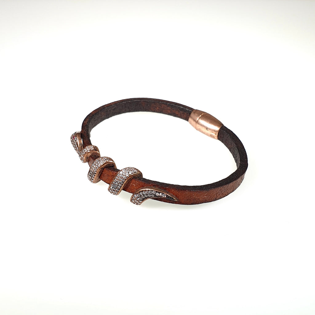 Genuine Leather Bracelet with Cubic Zirconia and Silver