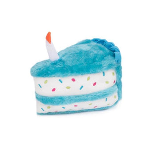 Birthday Cake Plush Dog Toy - Blue - Canine Compassion Bandanas