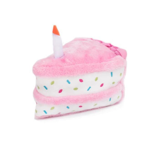 Birthday Cake Plush Dog Toy - Pink - Canine Compassion Bandanas