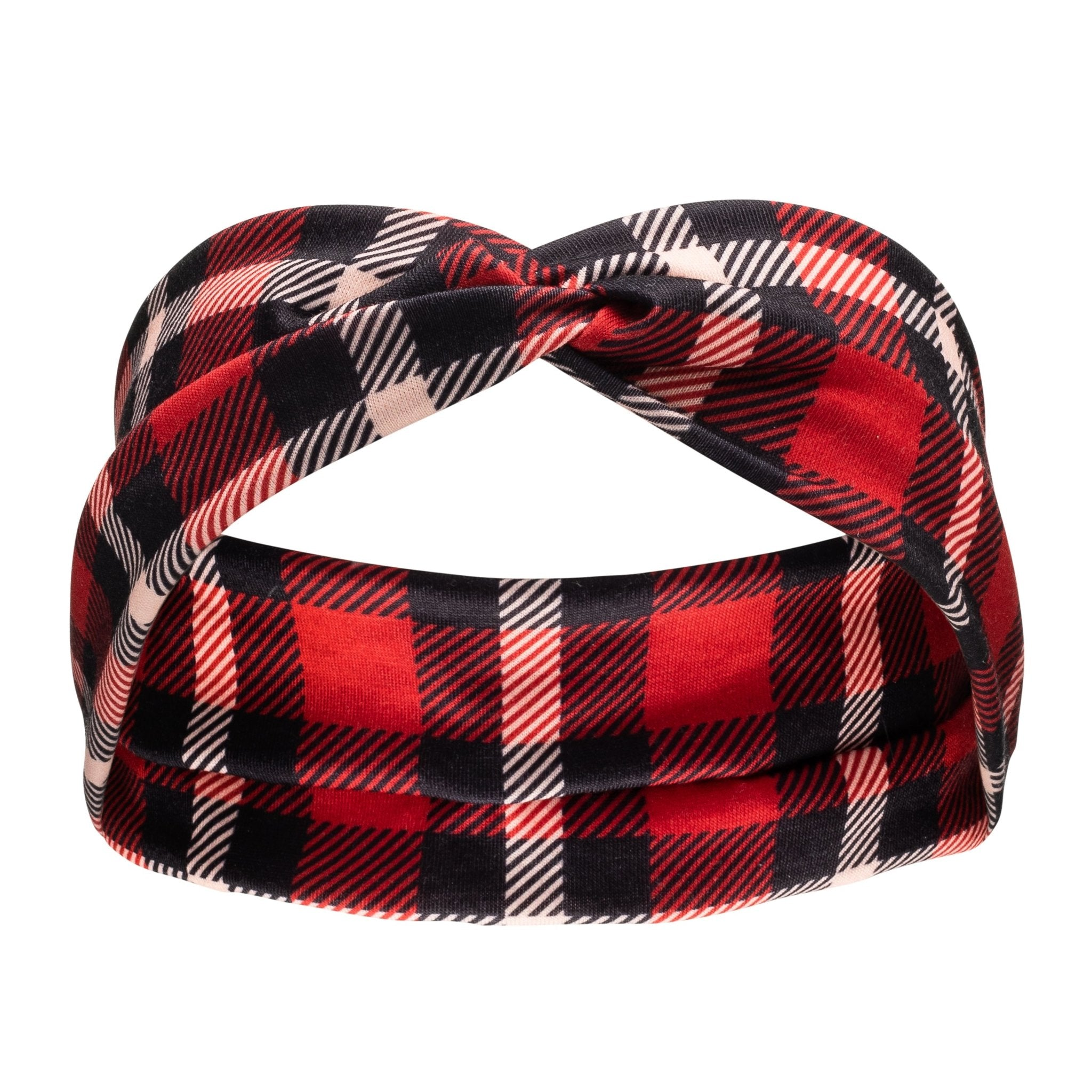 Matching Headband - Red and Black Plaid - Canine Compassion Bandanas