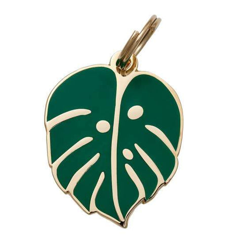 Monstera Leaf Enamel Dog Tag - Canine Compassion Bandanas