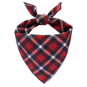 Red and Black Plaid Dog Bandana - Canine Compassion Bandanas