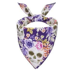 Skulls and Flowers Dog Bandana - Canine Compassion Bandanas