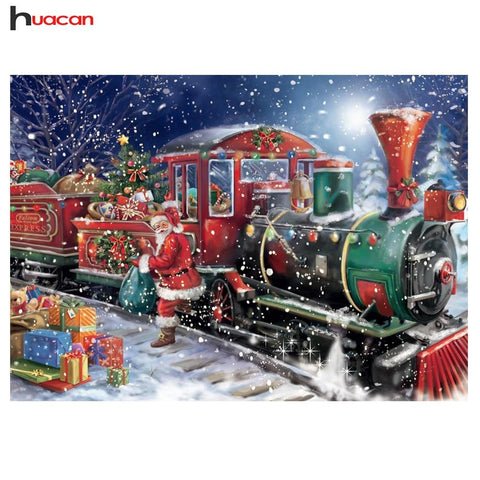 Huacan 5D DIY Diamond Painting Christmas Full Square Rhinestone Diamond Mosaic Santa Claus Train Diamond Embroidery Sale Cartoon