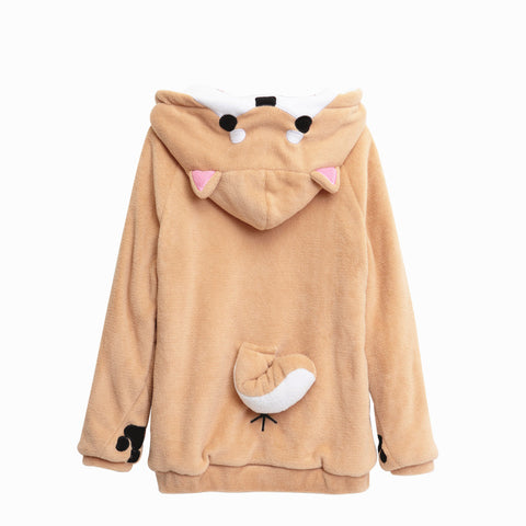 SHIBA INU HOODED PLUSH SWEATER