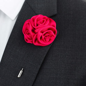 red silk button hole, red silk lapel pin flower