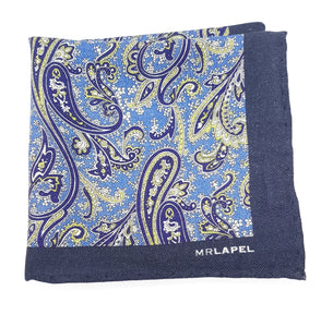 blue paisley pocket square, blue paisley handkerchief