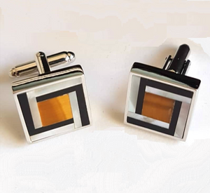 silver cufflinks with tiger's eye inlay, agate and mother of pearl