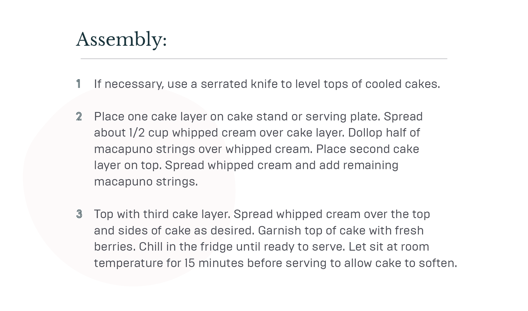 Notes about coconut cake ingredients