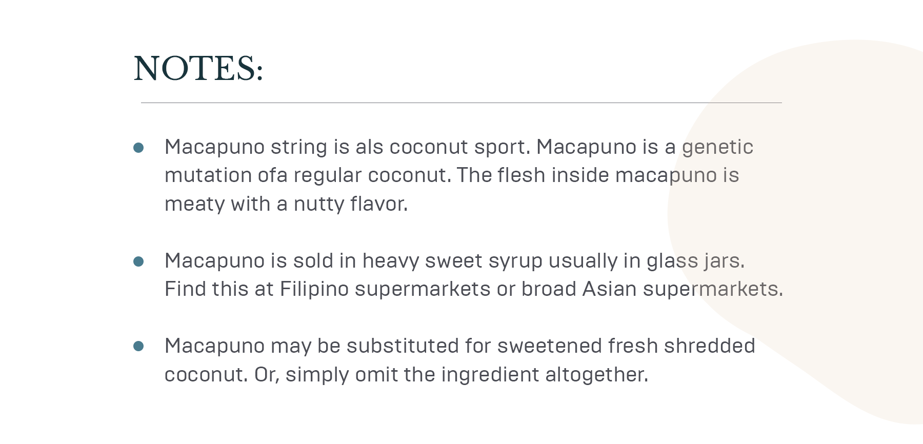 Notes about coconus cake ingredients and steps