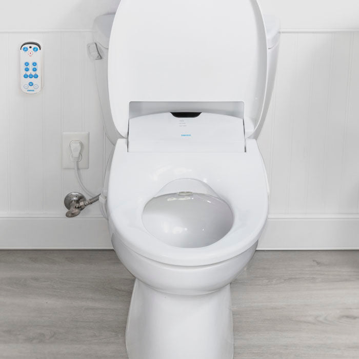 Omigo SL front view open in bathroom with remote