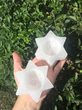 Selenite 6 Point Star Candle Holder