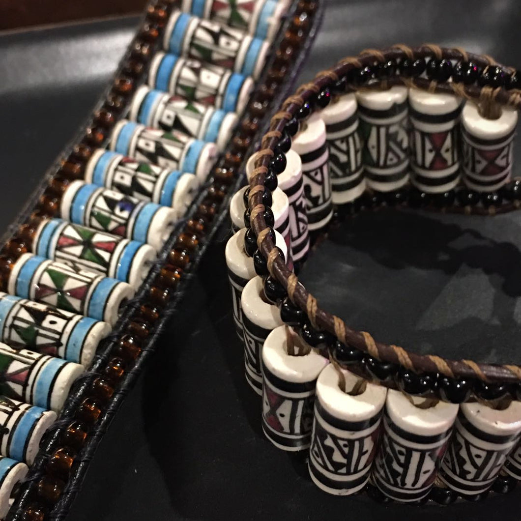 Handmade Leather Beaded Wrist Band