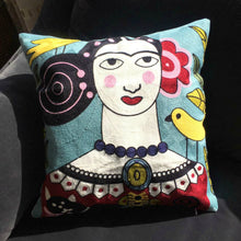 Load image into Gallery viewer, This Boho Cushion Cover is named Bianca. She is brightly coloured with Spanish style embroidery.