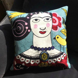 This Boho Cushion Cover is named Bianca. She is brightly coloured with Spanish style embroidery.