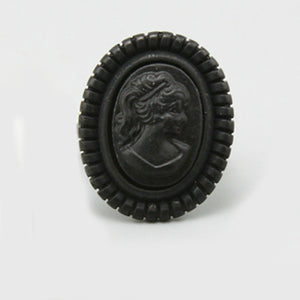Black Embossed Cameo Ring