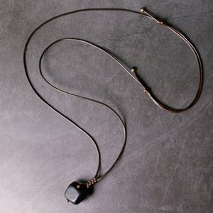 Ebony Spherical Pendant Necklace