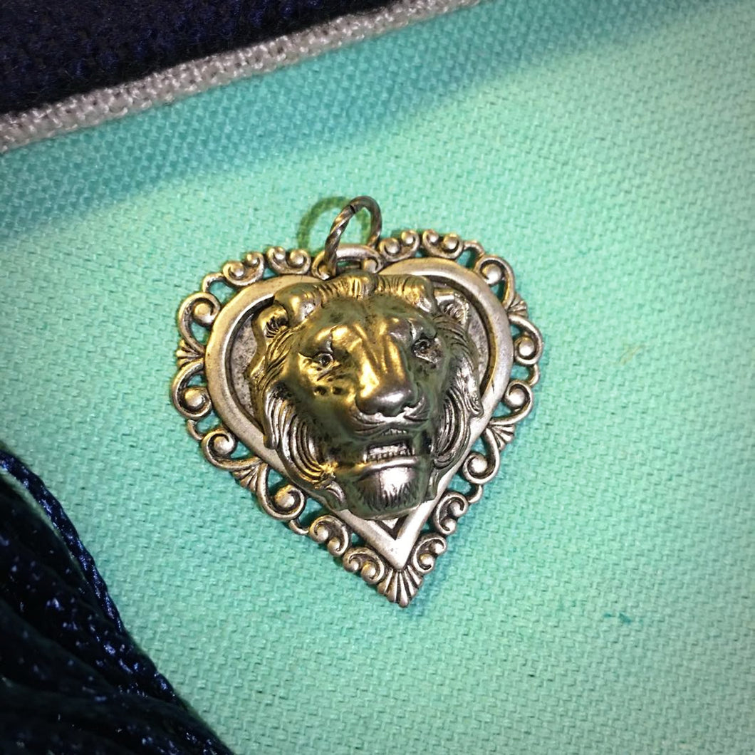 Lion Head and Heart Pendant