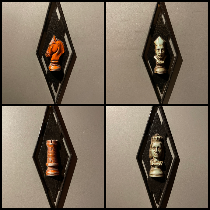 Mid-Century Chess Piece Wall Art Set