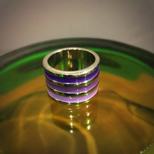 Load image into Gallery viewer, Silver and Purple Enamel Ring
