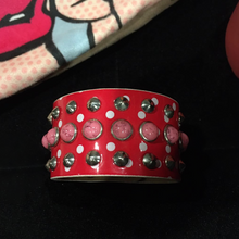 Load image into Gallery viewer, Red Studded Cuff Bracelet