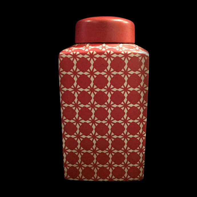Red Geometric Ceramic Ginger Jar