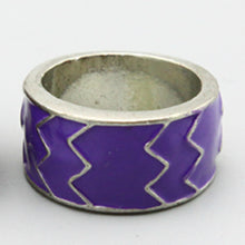 Load image into Gallery viewer, Silver Ring with Purple Aztec Design