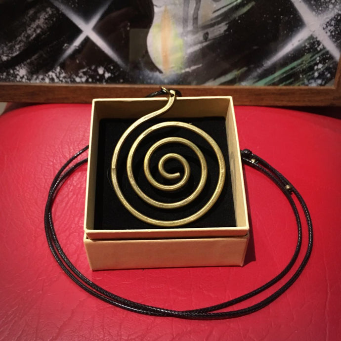 Brass Spiral Pendant Necklace