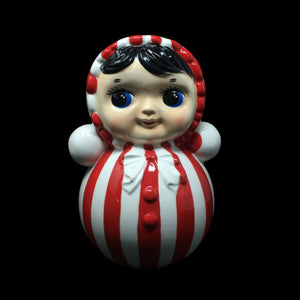 Retro Ceramic Doll with Red Stripes