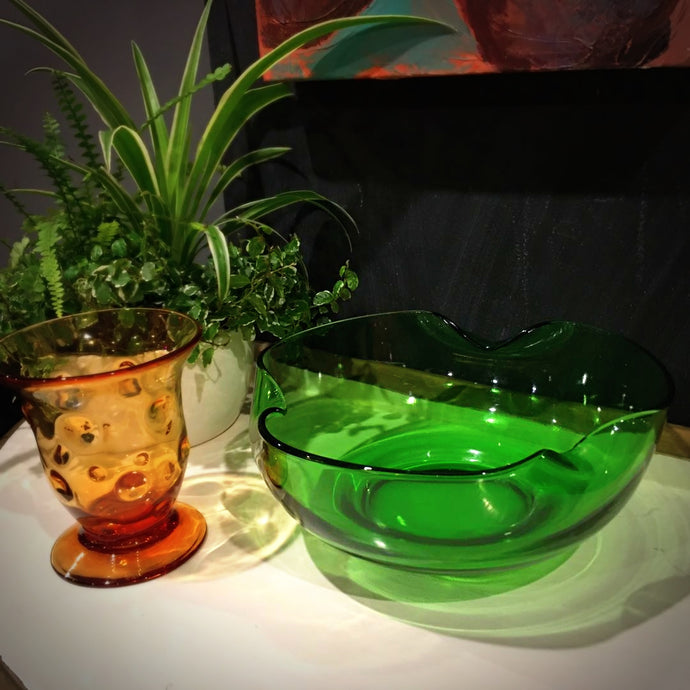 1960s Green Tri Fold Glass Bowl
