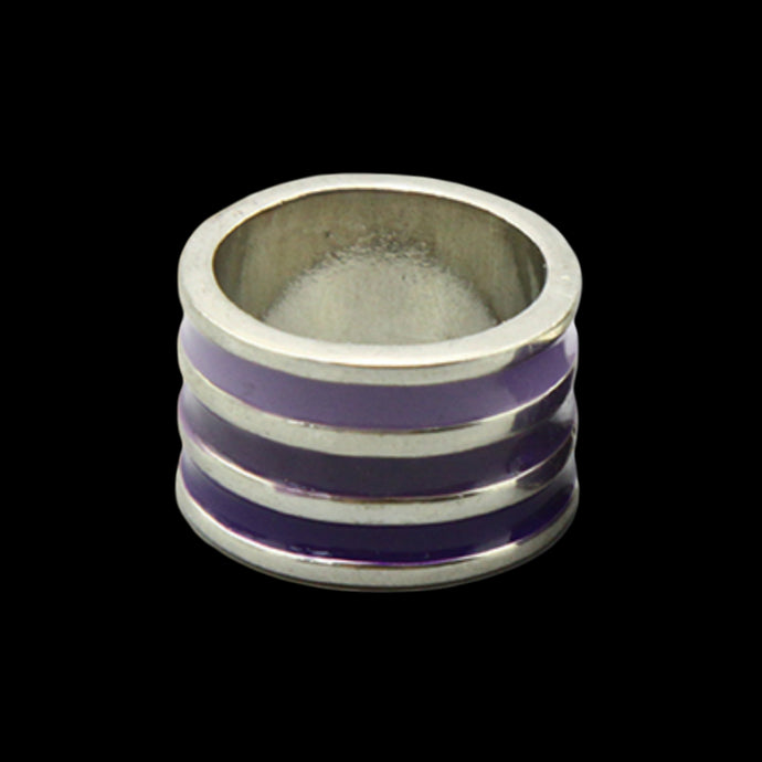 Silver and Purple Enamel Ring