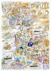 MAP OF LANCASHIRE Giclée Print limited edition of 300