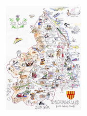 MAP OF NORTHUMBERLAND : Limited Edition of 250