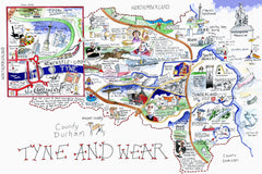 MAP OF TYNE AND WEAR : Giclée Print limited edition of 250