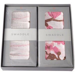 Pink Stripe and Cherry Blosom Swaddle Blanket Gift Set