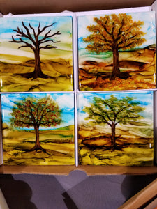 Hand-Painted Coaster Set of 4