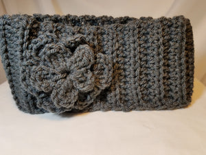 Headband - Gray with Flower