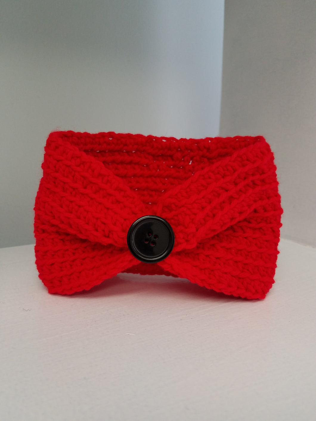 Youth Headband - Red with Button