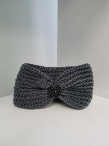 Youth Headband - Gray with Button