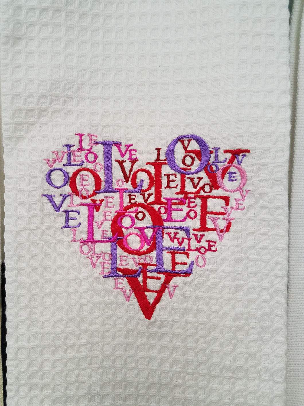 Heart Full of Love Embroidered Tea Towel