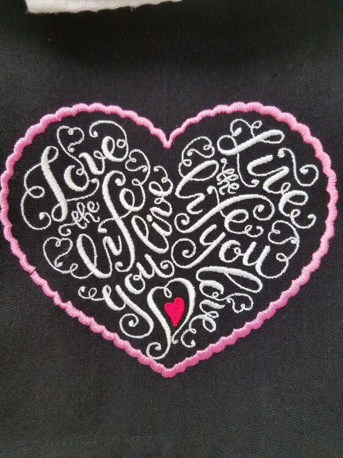 Pink Heart Full of Love Embroidered Tea Towel